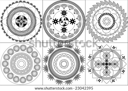 East Indian Patterns http://www.shutterstock.com/pic-23042395/stock-vector-indian-design-inspired-henna-tiles.html