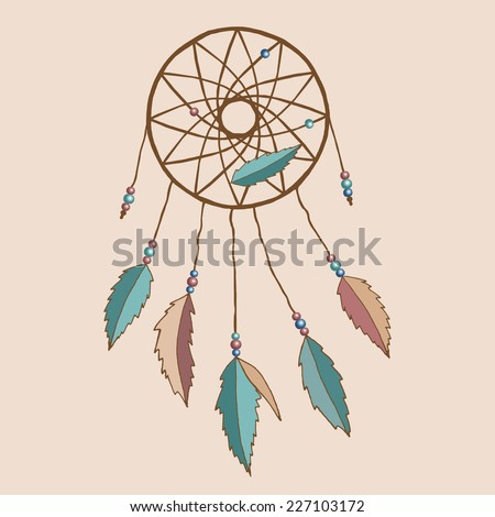 Indian dream-catcher dreamcatcher dream catcher with feathers and beads. Background can be easily removed. Vector.