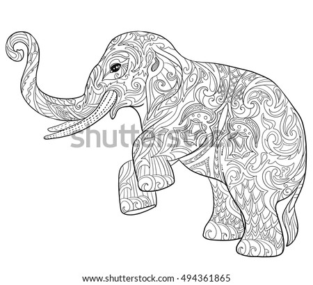 Indian Elephant Doodle Illustartion Hand Drawn Sketch For Adult Coloring Book Page And Print