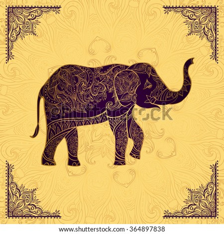 Indian elephant in golden colors. Ornate elephant on lace background . Hand drawn vector illustration