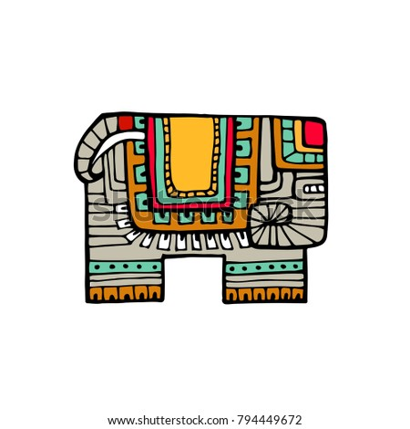 Indian elephant in traditional asian style. Ornate elephant on lace background for coloring page design, t-shirt design etc. Hand drawn vector illustration.