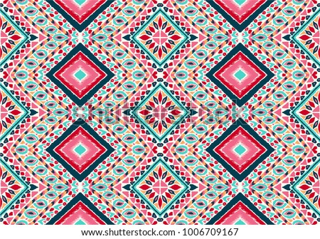 Indian embroidery. Geometric folklore ornament. Tribal ethnic vector texture. Seamless striped  pattern in Aztec style.  Scandinavian, Slavic, Mexican, folk pattern.