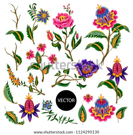 Indian ethnic ornament elements. Folk flowers and leaves for print or embroidery. Vector illustration.