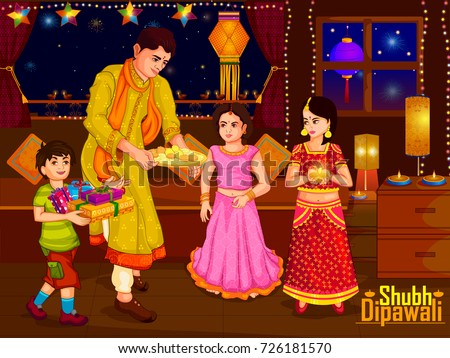 Indian family people celebrating Diwali festival of India in vector