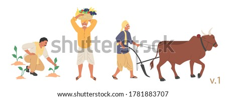 Indian farmer male character set, vector flat isolated illustration. People ploughing field with ox before sowing, planting and harvesting fruit. Indian farming industry. Сток-фото ©