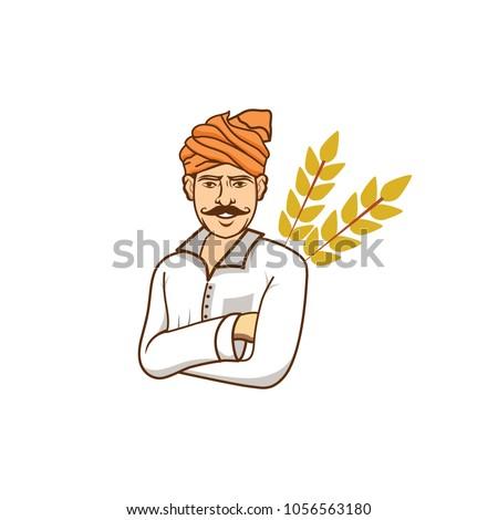 Indian Farmer Vector Illustration