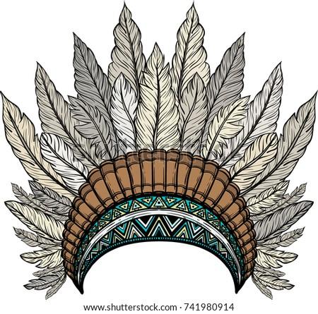 Indian Feathers Headdress Warbonnet