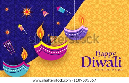Indian Festival celebration background with flat style fire crackers and stylish oil lamps hang on blue and yellow background. Can be used as greeting card design. - Shutterstock ID 1189595557