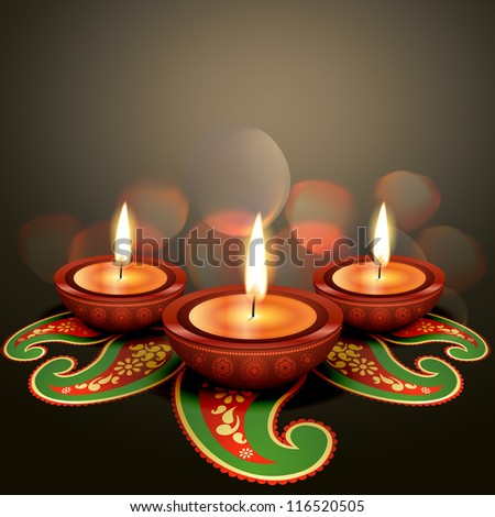 indian festival diwali vector background - stock vector