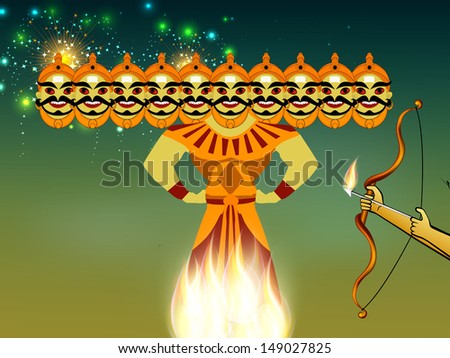 Indian festival Dussehra concept with illustration of Ravan with his ten heads in night background
