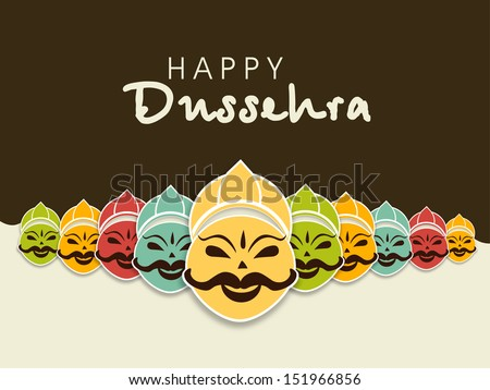 Indian festival Happy Dussehra concept with illustration of smiling Ravana face with his ten heads in various colors