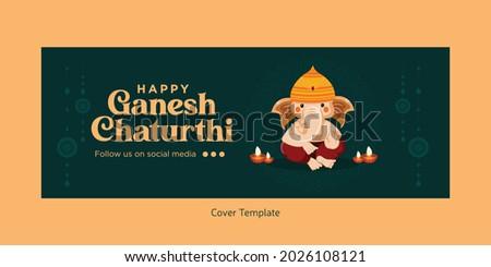 Indian festival Happy Ganesh Chaturthi Facebook cover design.