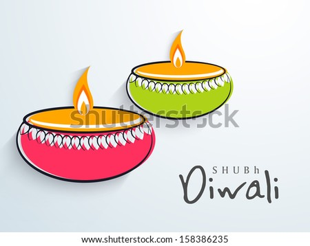 Indian Festival Of Lights Happy Diwali Elegant Background With Colorful Illuminated Oil Lit Lamps On