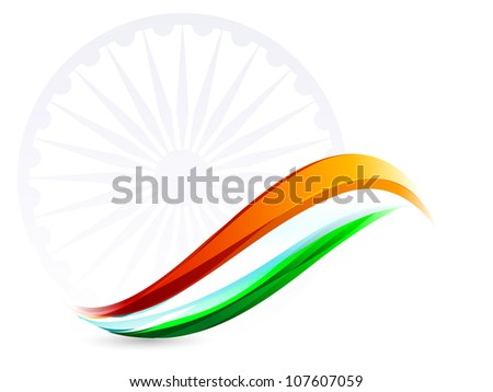 Indian Flag background with Asoka wheel on white background. EPS 10.