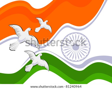 indian flag background with flying pigeon