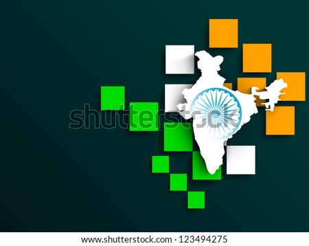 Indian flag color creative background with India Map. EPS 10.