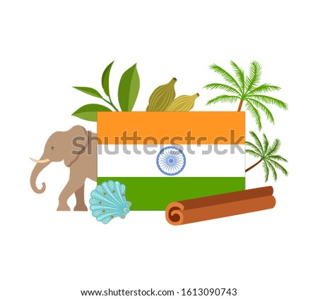 Indian flag with a composition of traditional country symbols isolated on white background. Vector illustration in flat style. Template for travel agencies and advertising. Pre made card.
