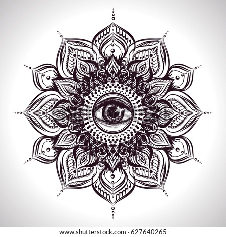 indian floral mandala with all