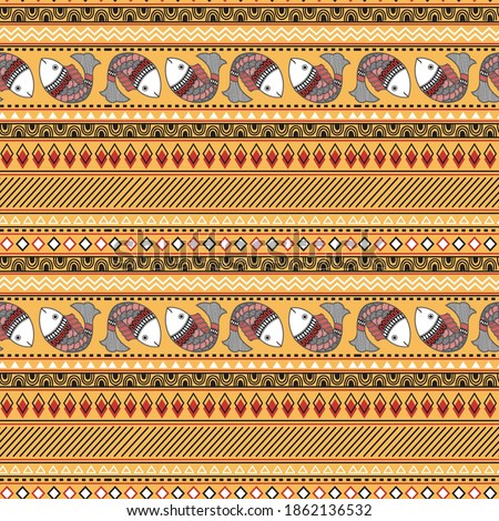 Indian folk seamless print. Madhubani seamless pattern of fish.Colorful Vector hand drawn flat illustration for fabric, print, wrapper, textile.
