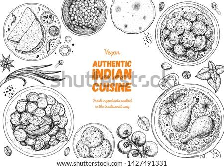 Indian food illustration. Hand drawn sketch. Indian cuisine. Doodle collection. Vector illustration. Menu background. Engraved style.