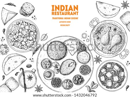 Indian food illustration. Hand drawn sketch. Indian cuisine. Doodle collection. Vector illustration. Menu background. Engraved style. Dish set with Indian thali, naan bread, palak paneer, vada pav.