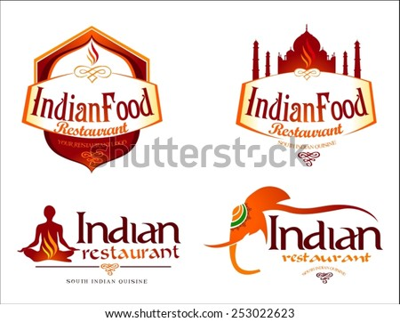 Indian Food Logo. Creative restaurant logo vector template. Indian food brand elements.