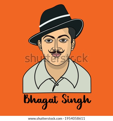 Indian freedom Fighter Bhagat Singh's vector illustration
