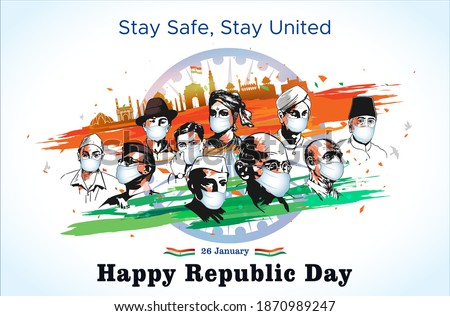 Indian Freedom Fighter, martyrs day, shaheed sardar bhagat singh, Subhash Chandra Bose, Republic day India background, army 26 January parade, celebration, India get, people wear safety mask