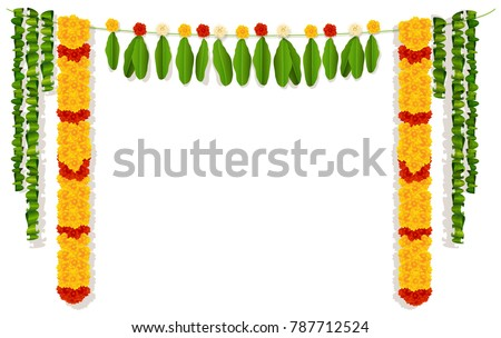Indian garland of flowers and leaves. Religion festive holiday decoration. Vector illustration isolated on white