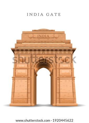 Indian Gate in Delhi isolated on white. war memorial design. vector illustration