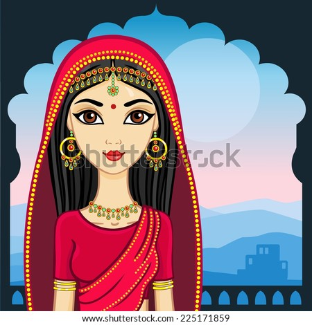 indian girl against night