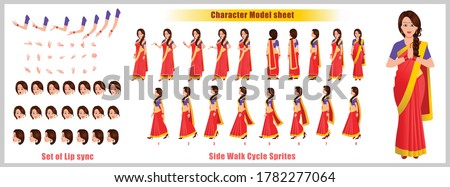 Indian Girl Character Design Model Sheet with walk cycle animation. Girl Character design. Front, side, back view and explainer animation poses. Character set with various views and lip sync