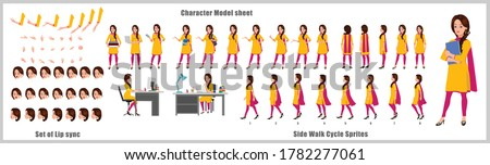 Indian Girl Student Character Design Model Sheet with walk cycle animation. Girl Character design. Front, side, back view and explainer animation poses. Character set with various views and lip sync