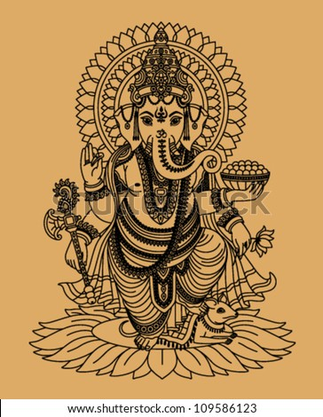 indian god ganesha on a beige
