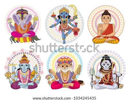 indian god vector hinduism