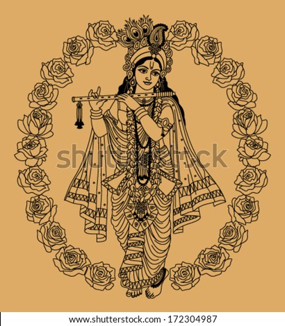 indian goddess in buds of roses