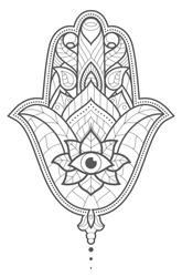 Indian hand Hamsa or hand of Fatima with third eye. Hand drawn