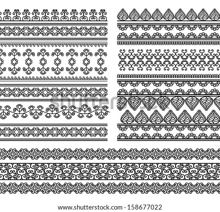 Indian Henna Border decoration elements patterns in black and white colors Popular ethnic border in one mega pack set collections Vector illustrations.Could be used as divider frame etc