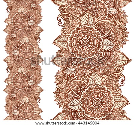 Indian henna tattoo style vector floral vertical seamless line pattern