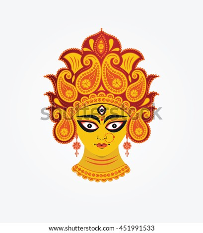 Indian Hindu Religion Goddess Durga Head Illustration