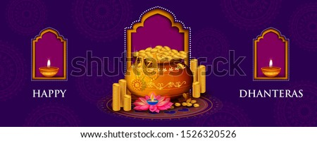 Indian holiday of Happy Dhanteras during Diwali season for prosperity. Vector illustration