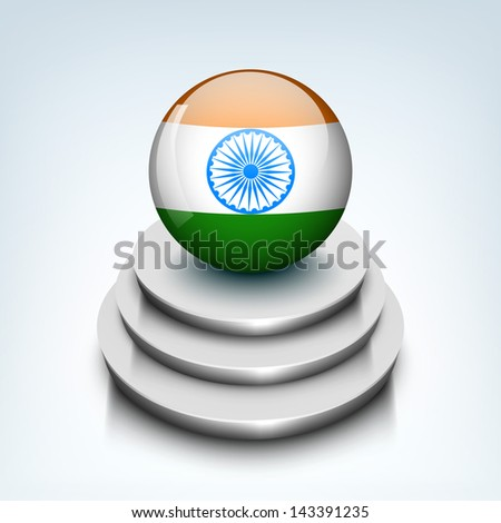 Indian independence day background with shiny globe in national flag