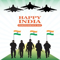 Indian Independence Day celebrations with soldiers, jets and flags