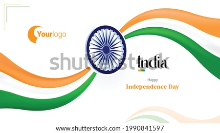 Indian Independence Day with logo - Best for background for PC Indian flag color with ashok chakra wheel