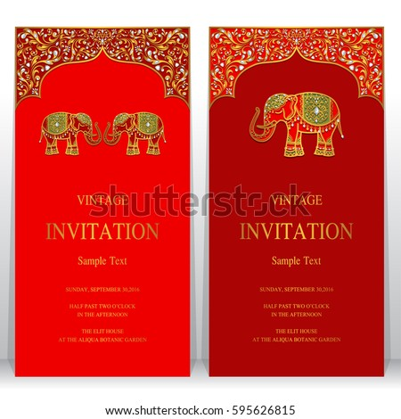 indian invitation card templates with gold elephant patterned and