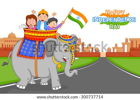 indian kid hoisting flag of