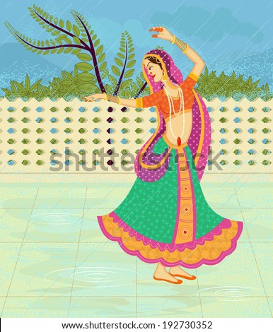 Indian lady dancing in rain in Indian art style