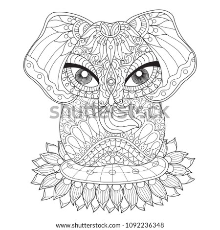 Indian lucky elephant. Zentangle stylized cartoon isolated on white background. Hand drawn sketch illustration for adult coloring book.