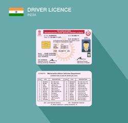 Indian Maharashtra car driver license identification. Flat vector illustration. Republic of India.