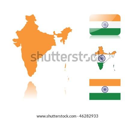 Indian map including: map with reflection, map in flag colors, glossy and normal flag of India.